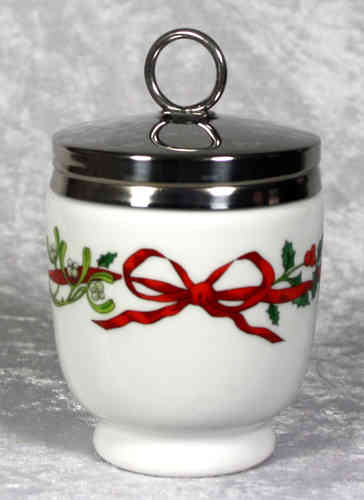 Royal Worcester Egg Coddler Holly Ribbons King Size