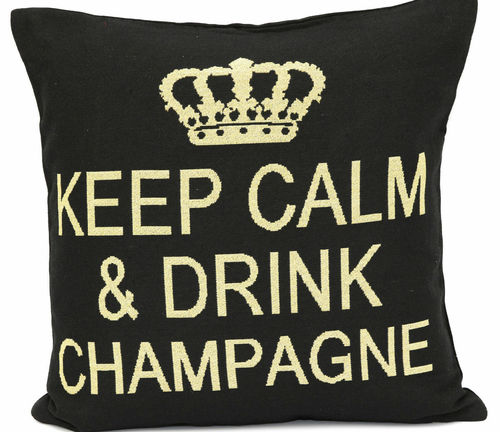 Keep Calm and drink Champagne - Kissen, schwarz